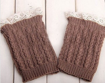 Knitted Boot Cuffs - Stretchy - Lace - Khaki - Faux Leg Warmers - Boot Toppers