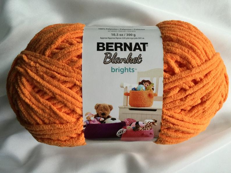 CARROT ORANGE 12002 Bernat Blanket Brights 10 5 oz Skein ~ Bernat Blanket  Yarn ~ Orange Super Bulky Chenille Crochet Knitting Yarn Supply ~