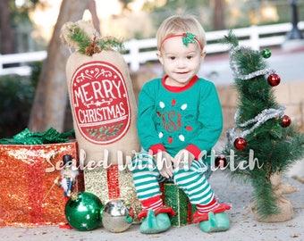 Christmas Pajamas - Lights Monogram - Monogrammed Christmas Pjs