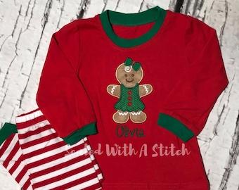 Gingerbread Pajamas - Toddler Christmas Pajamas - Personalized Pjs