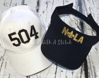 NOLA Hat - 504 Hat - Baseball Hat - New Orleans Saints - Area Code Hat 0ba740ca4