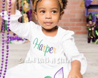 Mardi Gras Fleur De Lis Dress, Toddler Dress, Personalized Dress