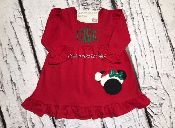 Minnie Mouse Christmas Dress.Monogrammed Minnie Mouse Christmas Dress Personalized Christmas Dress Minnie Mouse Dress