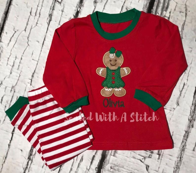 Toddler Christmas Pajamas.Gingerbread Pajamas Toddler Christmas Pajamas Personalized Pjs