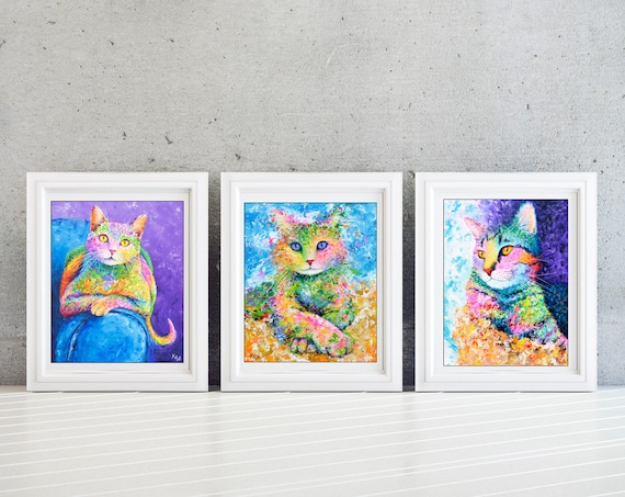 Cat Wall Art - Set of 3 Prints