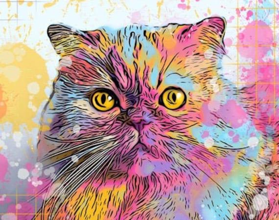 Custom DIGITAL ART Pet Portrait - RAINBOW Colors
