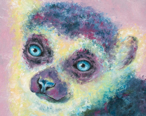Rose Lemur Painting