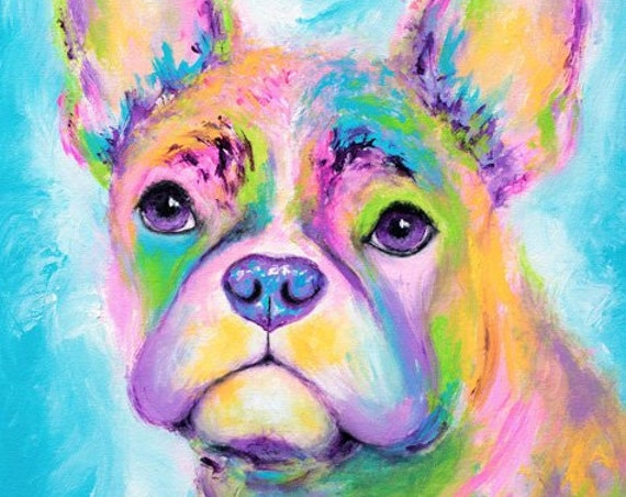 Rainbow Frenchie Painting