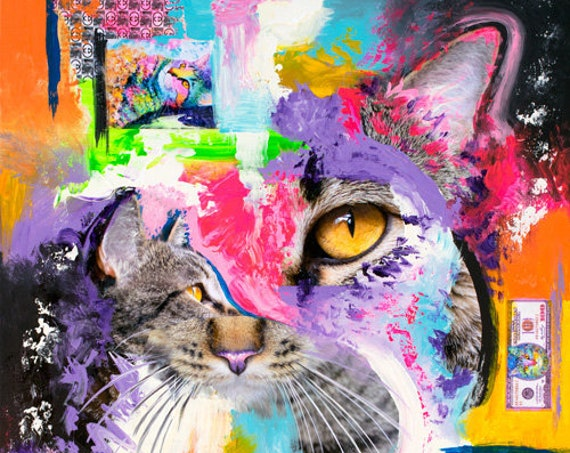 King Samadhi Cat Mixed Media Painting