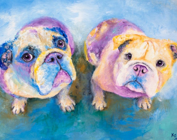 English Bulldogs Print - Jude and Beth