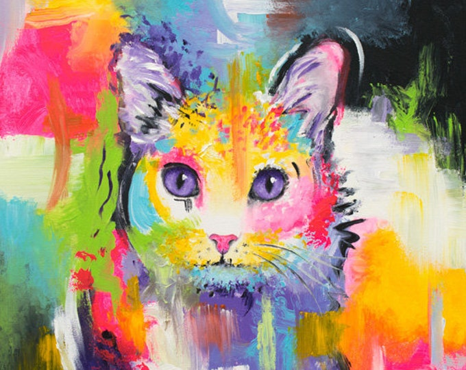Abstract Cat Print - Meow