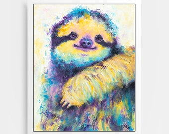 Sloth Art - Sloth Gift, Cute Sloth Print, Sloth Art Print, Sloth Gifts for Her, Sloth Gifts for Him, Sloth Gifts for Kids, Sloth Wall Art.