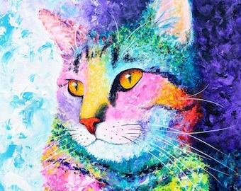Rainbow Tabby Print