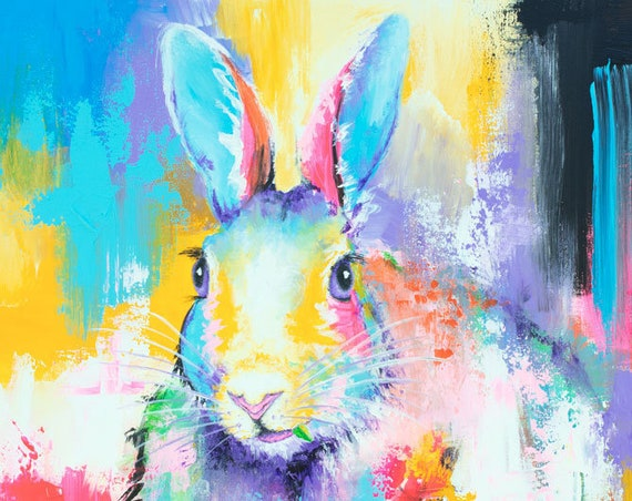 Rabbit Among the Flowers Print