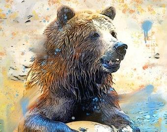 Grizzly Bear on a Ball - Original Digital Art Print