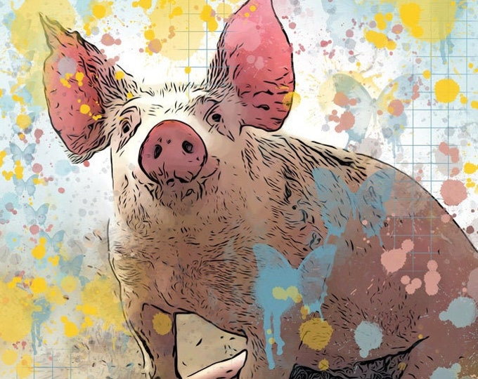 Butterfly Pig Print