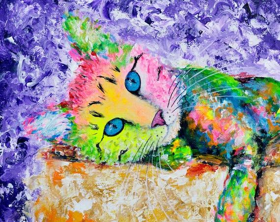 Tabby on a Box - Cat Print