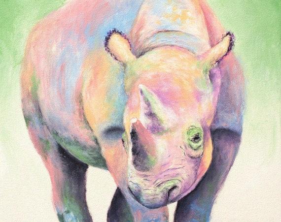 Rainbow Rhino Print