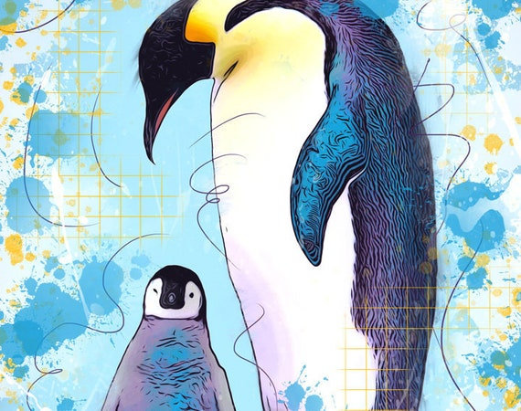 Mother and Baby Emperor Penguins Print