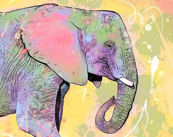 Yellow Elephant Print