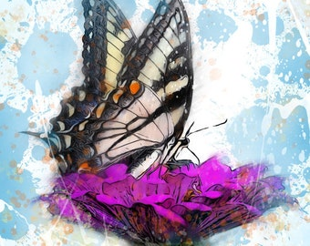 Butterfly on a Flower Print