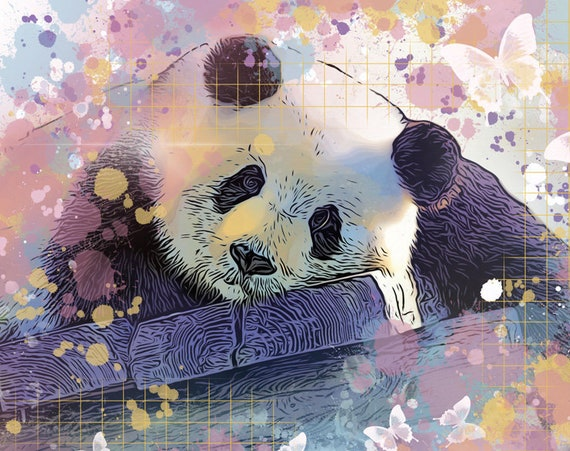 Panda Among the Butterflies Print