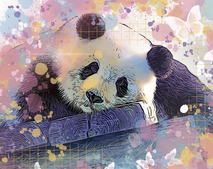 Panda Among the Butterflies Print
