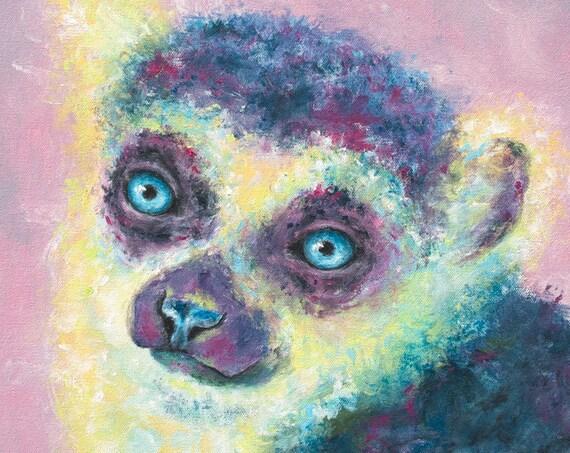 Lemur Rose Print
