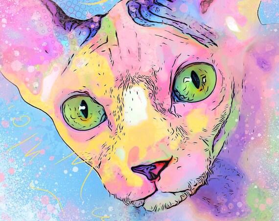 Rainbow Sphynx Cat Print