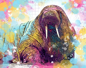 Rainbow Walrus Print