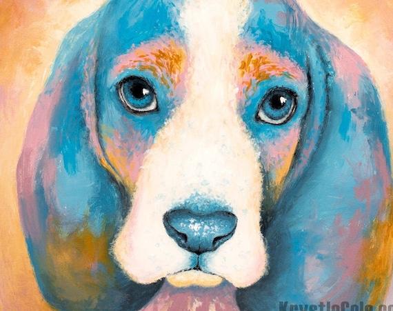 Basset Hound Puppy Print - Sage