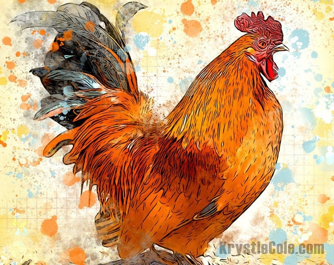 Square Rooster Print