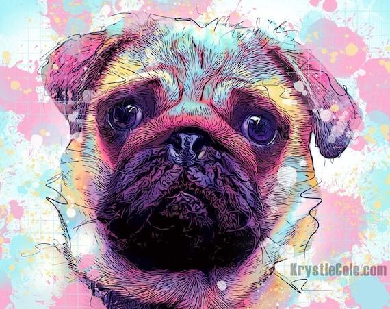 Rainbow Pug Print