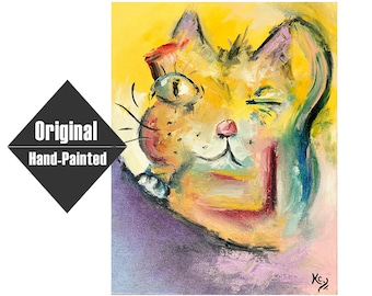 """Whimsical Cat Painting  - 11x14"""""""