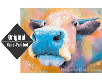 """Blue Cow Painting - 11x14"""""""