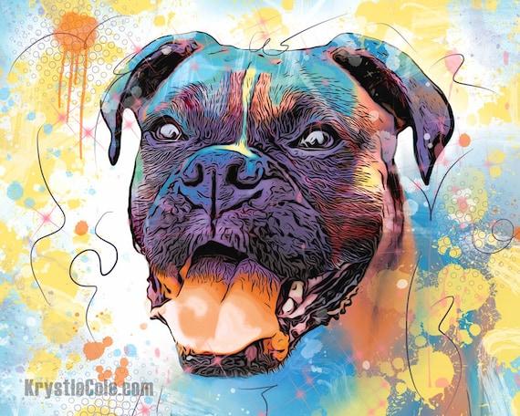 Abstract Boxer Dog Print