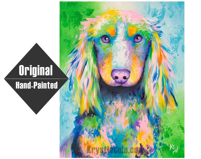 """Long-haired Dachshund Dog Painting - 16x20"""""""