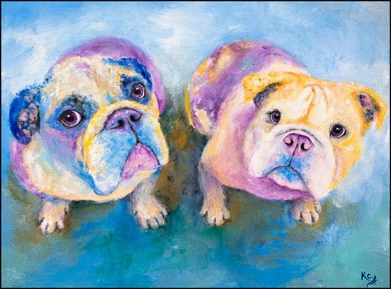 English Bulldogs Print - Jude and Beth