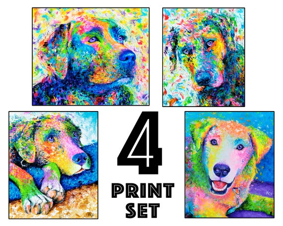 "Set of 4 Labrador Retriever Dog Art Prints - 8x10"" size"