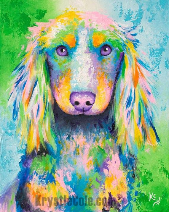 Long-haired Dachshund Dog Painting
