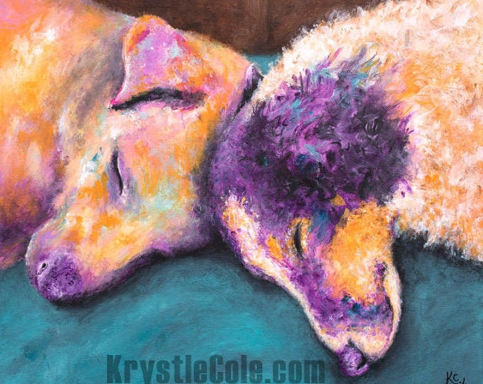 Cuddling Dogs Print