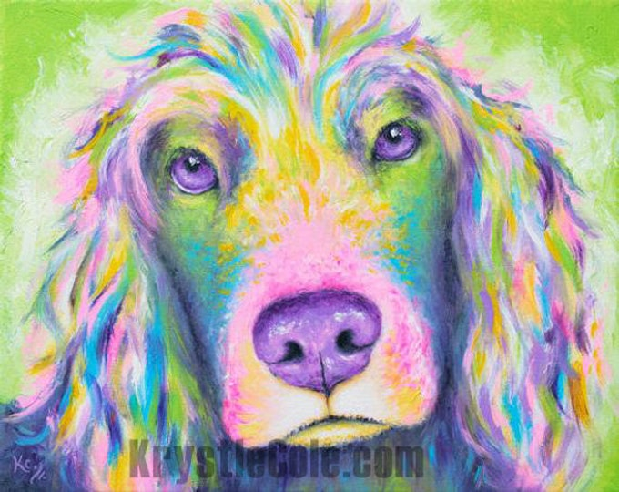 Rainbow Spaniel Print
