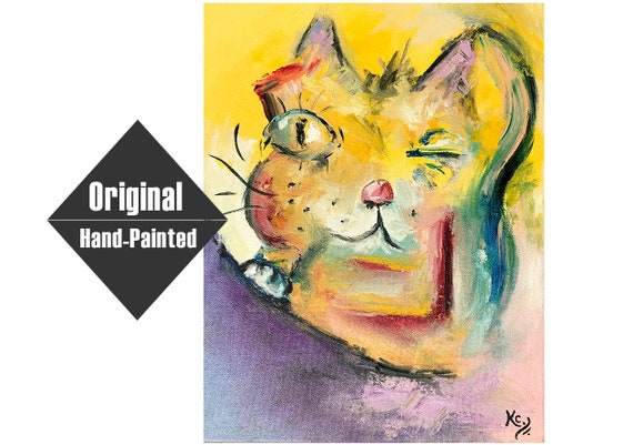Whimsical Cat Painting
