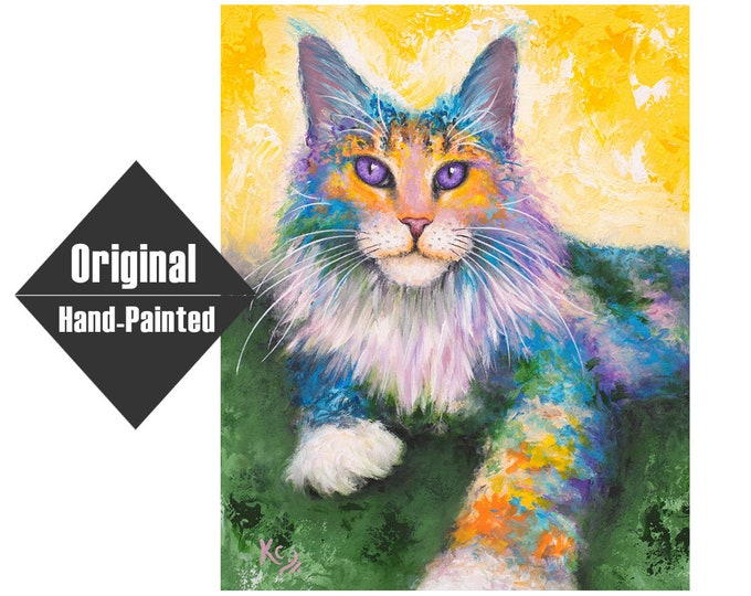 """Maine Coon Cat Painting - 16x20"""""""