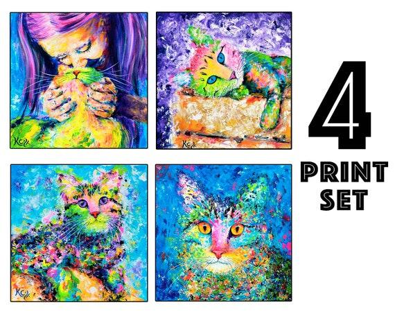"Set of 4 Cat Art Prints - 8x8"" size"