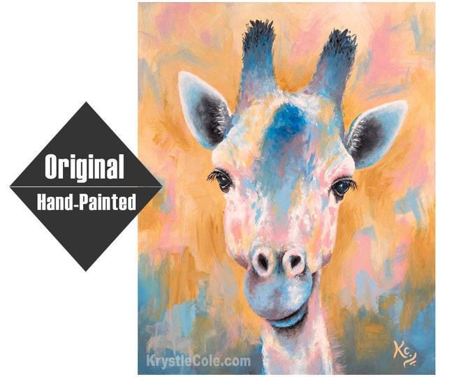 """Tanganyika Giraffe Painting - 16x20"""""""