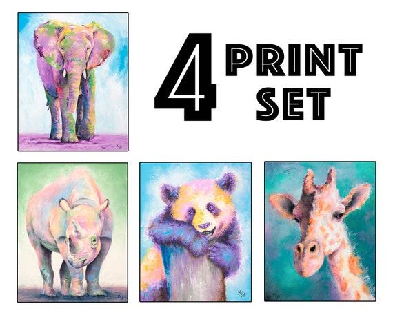 """Set of 4 Zoo Animal Art Prints - 8x10"""" size"""