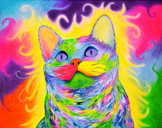 Rainbow Kitty Painting