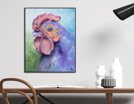 Chicken Art Print on Wood - Purple Rooster