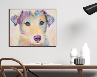 Jack Russel Terrier Dog Art Print on Wood